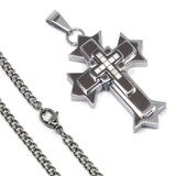 Stainless Steel Mens Cross Necklace 24 Inch 6.5mm Curb Chain High End Stylish Cross Pendant