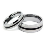 Tungsten Wedding Band Set, Epoxy Inlay, High Polish Beveled Edge, 8MM and 6MM