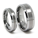 Tungsten Wedding Band Set, Brush Flat Top with Double High Polish Lines, Beveled Edge, 8MM and 6MM