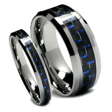 Tungsten Wedding Band Set, Black and Blue Carbon Fiber, Bevel Edge, High Polish Finish, 8MM and 6MM