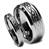 Tungsten Wedding Band Set, Cool Laser Celtic Design, Bevel Edge, High Polish Finish, 8MM and 6MM