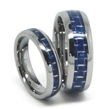 Tungsten Wedding Band Set, Blue Carbon Fiber Inlaid, High Polish Finish, 8MM and 6MM
