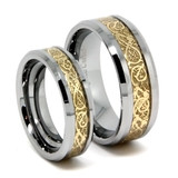 Tungsten Wedding Band Set, Gold Plated Inlaid Dragon Ring Set, Bevel Edge, High Polish, 8MM and 6MM