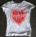 KISS Army White Vneck Burnout Juniors Shirt