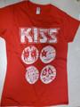 White Icons German Juniors Womens Red Tshirt