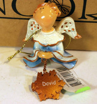 CHRISTMAS ORNAMENTS - WHOLESALE- RUSS BERRIE #6405 - 3 ANGELS- 'DAVID'- NEW W75