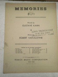 VINTAGE SHEET MUSIC- MEMORIES BY GUSTAVE KAHN- GOOD CONDITION- H51