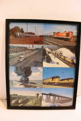 """VINTAGE RAILROAD POSTERS/PRINTS - 8 POSTCARD COLLAGE- MIXED - FRAMED 12""""X15"""""""