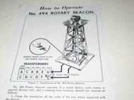 LIONEL POST-WAR - 494 ROTARY BEACON INSTRUCTIONS - REPRINT - M44