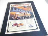 "LIONEL PICTURE FOR YOUR TRAIN ROOM- 11 X 14"" - PRE-WAR CLASSICS- NEW - B7"
