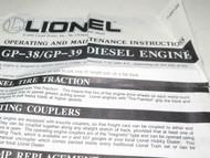 LIONEL INSTRUCTION SHEET- GP-38 / GP-39 DIESEL LOCOMOTIVE - GOOD - H26