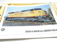 "GE - 8 X 11"" COLOR PICTURE W/SPECS - UNION PACIFIC DASH 8 40CW DIESEL - EXC- H17"