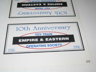 TTOS- EMPIRE & EASTERN 10TH ANNIVERSAY BILLBOARD FOR 0/027 TRAINS- NEW - M9