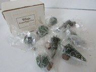 DEPT 56 52035 VILLAGE FROSTED TOPIARY TREES SET OF 8 PCS L137