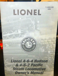 - LIONEL OWNERS MANUAL- 4-6-4 HUDSON & 4-6-2 PACIFIC STEAM LOCOMOTIVE- M33