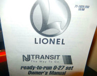 - LIONEL OWNERS MANUAL- NJ TRANSIT READY TO RUN 0-27 SET - M33