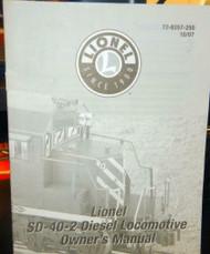 - LIONEL OWNERS MANUAL- SD-40-2 DIESEL LOCOMOTIVE- M33
