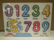 MELISSA & DOUG- #3273 'SEE-INSIDE' NUMBERS PEG PUZZLE- NEW