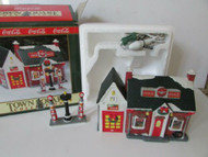 "COKE BRAND TOWN SQUARE LIGHTED VILLAGE BLDG FLYING ""A"" SERVICE STATION MINT"