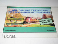 AOL 2003- ON-LINE TRAIN GANG GET TOGETHER BILLBOARD FOR 0/027 TRAINS - NEW - M9