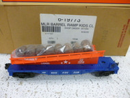 LIONEL 19773= KIDS CLUB BARREL RAMP CAR- 1999 - DIECAST SPRUNG TRUCKS MINT-S5