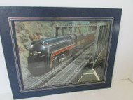 """NORFOLD & WESTERN RAILROAD PAPER PRINT MATTED FRAME 13"""" X 11"""""""