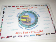L.O.T.S - 2005 VIRGINIA BEACH, VA. CONVENTION PLACE MAT - NEW- H21