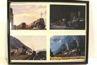 "VINTAGE RAILROAD POSTERS/PRINTS -4 STEAM LOCOS COLLAGE- MIXED - FRAMED 11"" X 14"""