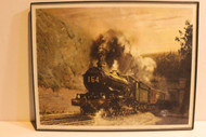 "VINTAGE RAILROAD POSTERS/PRINTS -#164 STEAM TRAIN PRINT - FRAMED 14"" X 11"""