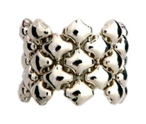 Liquid Metal Silver Mesh Flexible Band Ring Sergio Gutierrez Ring1