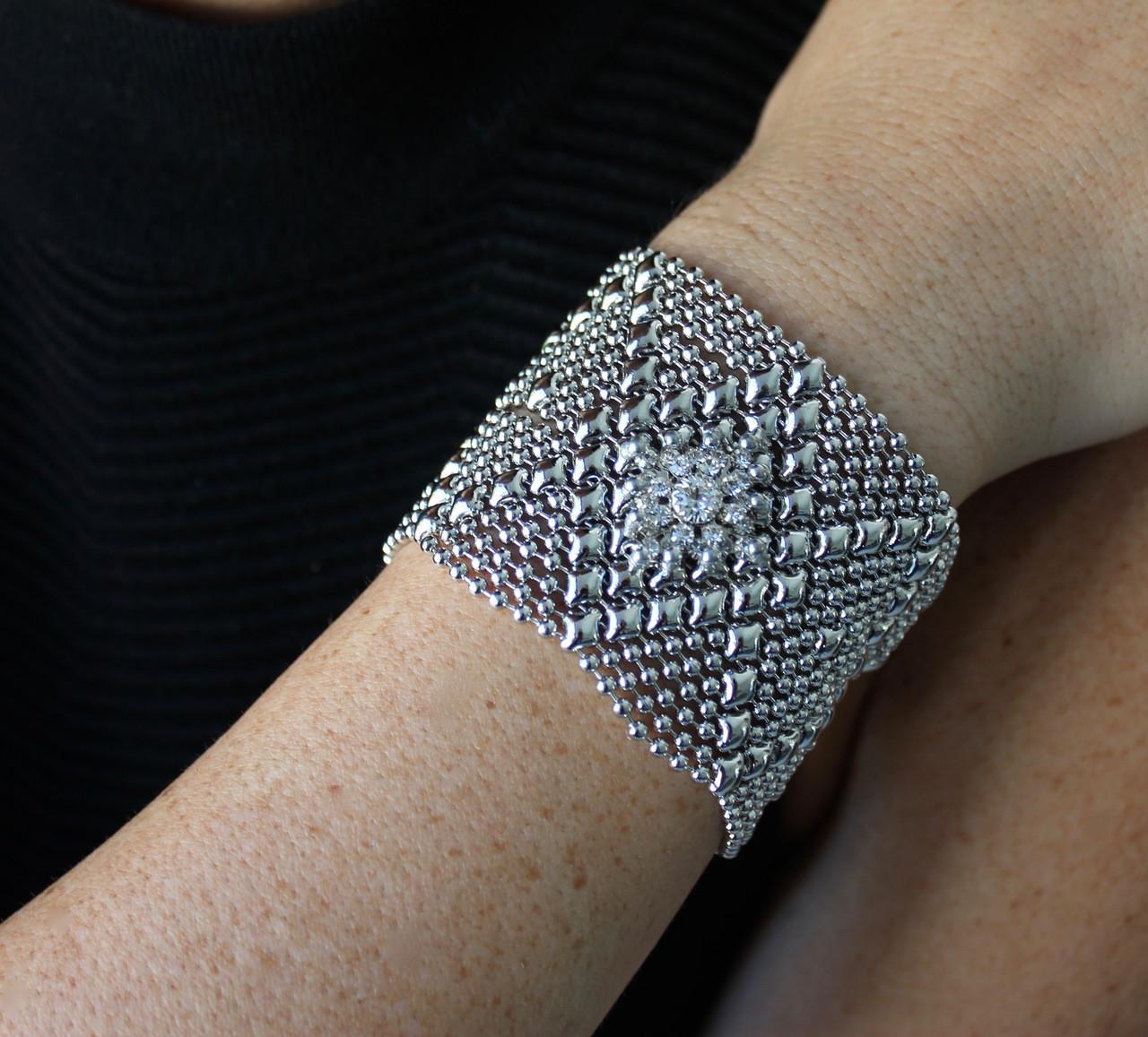 ea04a03e2 Sergio Gutierrez Liquid Metal Silver Mesh Cuff Bracelet Swarovski ...