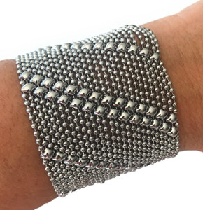 SG Liquid Metal Tiny Ball Chain Silver Mesh Diagonal Lines Bracelet TB27
