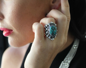 SG Liquid Metal Flexible Mesh Ring Turquoise Stone by Sergio Gutierrez