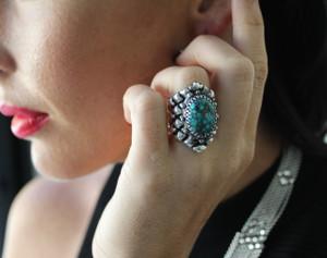 SG Liquid Metal Flexible Mesh Ring Turquoise Stone by Sergio Gutierrez