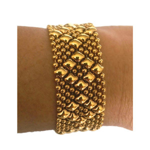 SG LIQUID METAL SMALL DIAMONDS 24K ANTIQUE GOLD MESH CUFF BRACELET B4