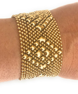 SG LIQUID METAL GOLD TINY BALL CHAIN FLOWER DIAMOND MESH BRACELET TB32