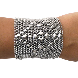 SG Liquid Metal Silver Dance Diamond Mesh Wide Cuff Bracelet B50