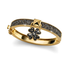 Lucky Clover Metallic Gold & Black Bangle Bracelet Swarovski Elements Oliver Weber