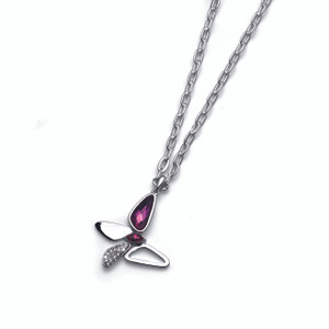 Silver Chain Necklace Swarovski Crystals Fuchsia Butterfly Oliver Weber Fade