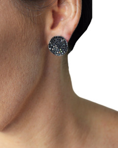 JCM LONDON WHITE GOLD SMALL STUD PIERCED BLACK ZIRCONS GALAXY EARRINGS