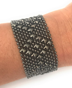 Liquid Metal Medium Diamonds Black Mesh Bracelet by Sergio Gutierrez B9