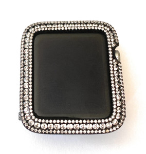 EMJ Bling Black Apple Watch Mesh Band and/or Sparkling Round  Zirconia Series 2/3 Bezel Case Cover Face Bumper 42 mm