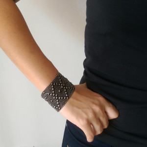 Liquid Metal Black Chrome Mesh Cuff Bracelet by Sergio Gutierrez B10