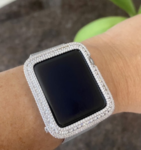 EMJ Series 1,2,3 Bling Apple Watch Zirconia White Gold Silver Case Bezel 38/42mm