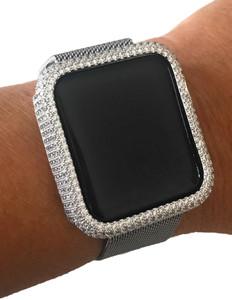EMJ Bling Apple Watch Bezel Face Case Silver Zirconia 38/42mm Series 1,2,3