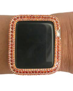 EMJ Series 2,3 Apple Watch Orange Zirconia White Gold Bezel Face Insert 38/ 42 mm