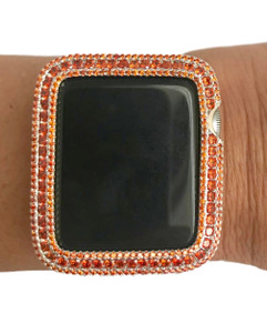 EMJ Series 2,3 Apple Watch Orange Zirconia White Gold Bezel Face Insert 38/ 42 mm