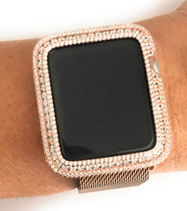 EMJ Series 1,2,3 Bling Apple Watch Zirconia Rose Gold Silver Case Bezel 38/42mm