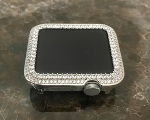EMJ Bling Apple Watch Silver Bezel Face Case Princess Zirconia 38/42mm Series 1,2,3