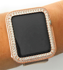 EMJ Series 1,2,3 Bling Apple Watch  Princess Zirconia Rose Gold Case Bezel  Insert 38/42mm
